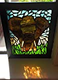 African Elephant Stained Glass Mosaic Art Panel in Frame
