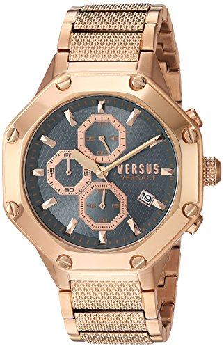 Versus by Versace Men's 'Kowloon' Quartz Tone and Gold Plated Casual Watch(Model: VSP390617)