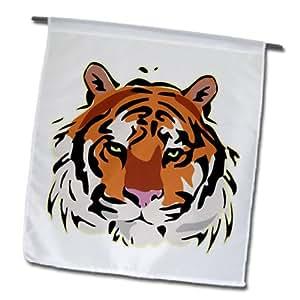 FL _ 150925Rubio diseños divertidos y Fluffy gatos–vivos colores cabeza de tigre–banderas