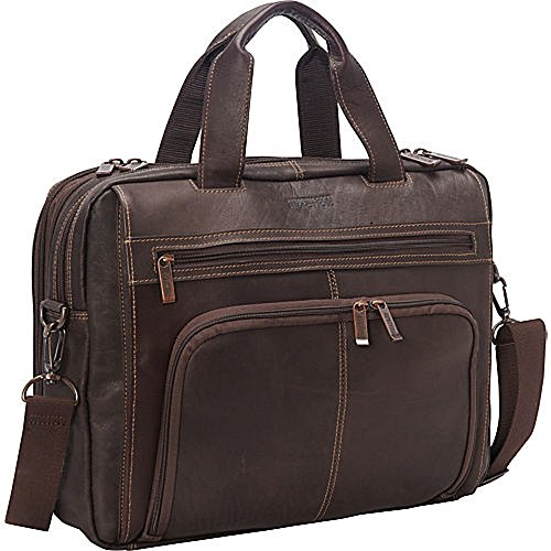 Kenneth Cole Reaction Columbian Leather Expandable Briefcase Brown by Kenneth Cole