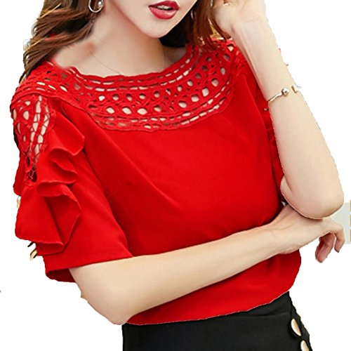 RFZYnjjb Women Short Sleeve Hollow Ruffles Blouses Top Shirt at Amazon Womens Clothing store: