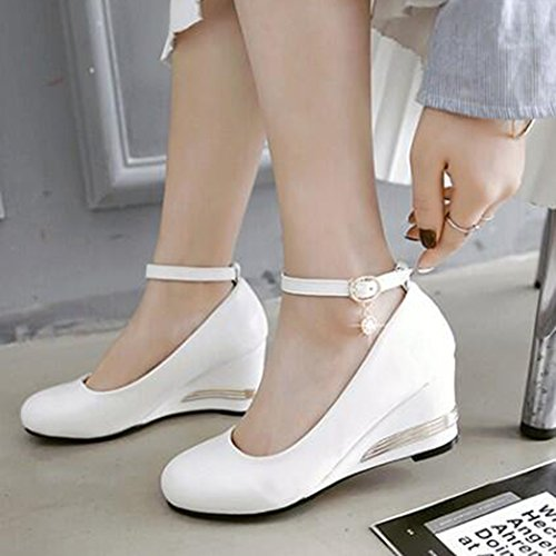 Easemax Womens Elegant Ankle Buckle Strap Pendant Mid Wedge Heel Pumps Shoes White ghc2NT6jZ