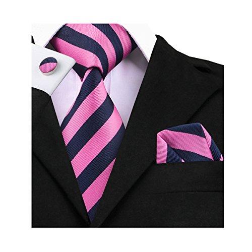 (Barry.Wang Blue and Pink Ties Handkerchief Cufflinks Striped Tie)