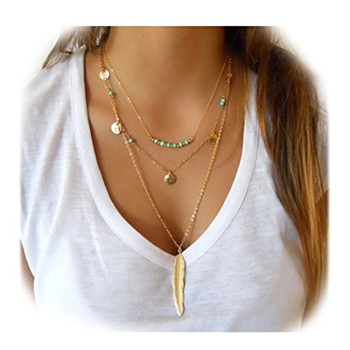 Fancymix Multilayer Chain Exquisite Sequins Necklace Turquoise Beads Boho with Feather Pendant
