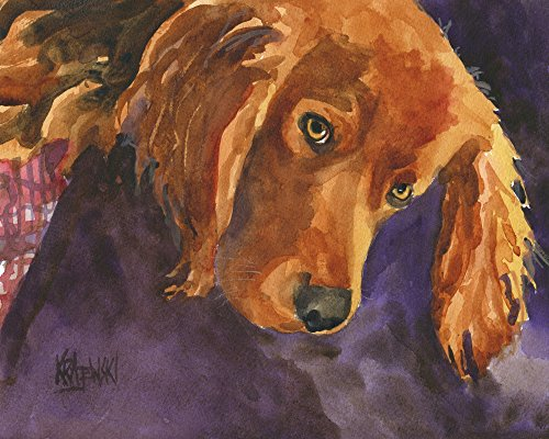 (Irish Setter Dog Fine Art Print on 100% Cotton Watercolor Paper)