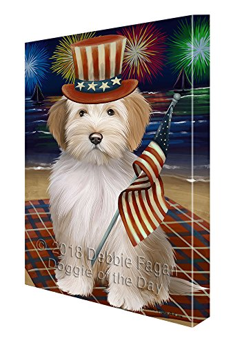 4th of July Independence Day Firework Tibetan Terrier Dog Canvas