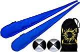 Flames N Games Sock Poi Set (BLUE) Pair of Quality Stretchy Lycra Spinning Poi Socks + 2x90g Balls & Travel Bag.