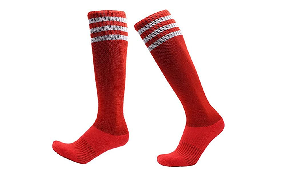 YallFairy 5 Pairs Boys Soccer Socks Compression Long Athletic Football Socks Sport Tube Socks For Kids//Youth//Adult
