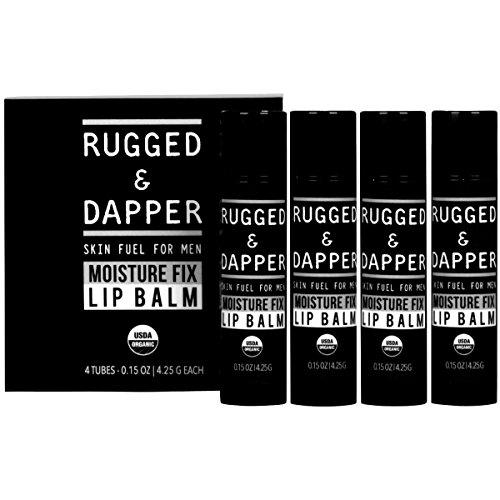 [Moisture Fix Lip Balm For Men - 4 Pack - All Natural & Certified Organic - Fresh Eucalyptus Mint Flavor - RUGGED & DAPPER] (Four Pack Lip Balm)