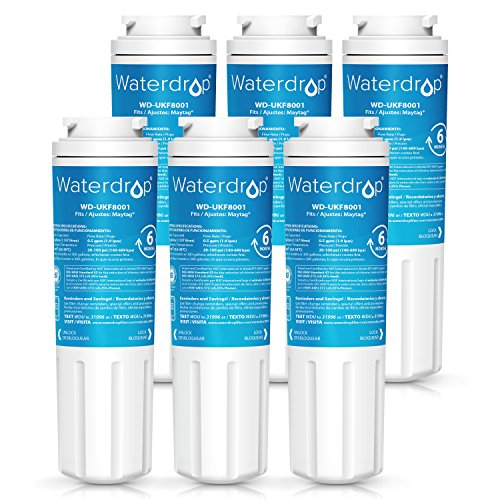 Waterdrop UKF8001 Refrigerator Water Filter, Compatible with Maytag UKF8001, UKF8001AXX, UKF8001P, Whirlpool 4396395, 469006, EveryDrop Filter 4, Puriclean II, Pack of 6