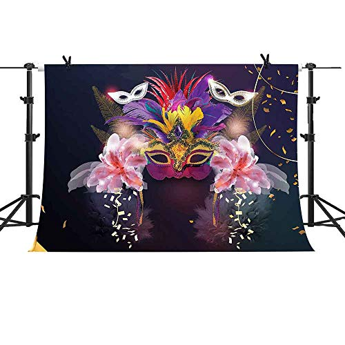 MME 10X7ft Mask Background Venetian Mask Masquerade Theme Party Photography Background Props for Parties Supplies LSME024]()