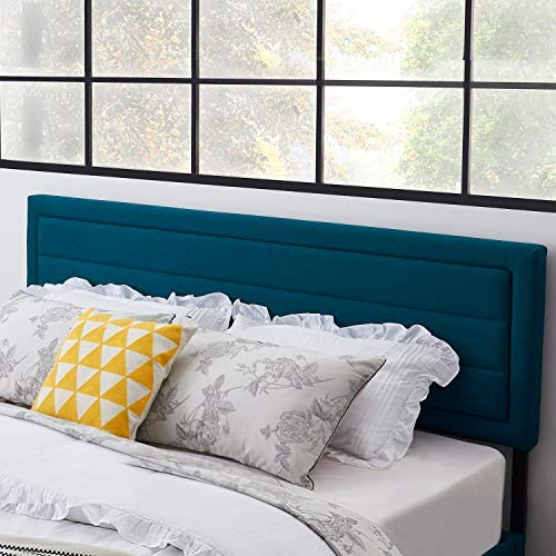 VECELO Upholstered Linen Fabric Surface,Metal Frame Woodboard Inner Sponge,Queen Headboard Dark Blue
