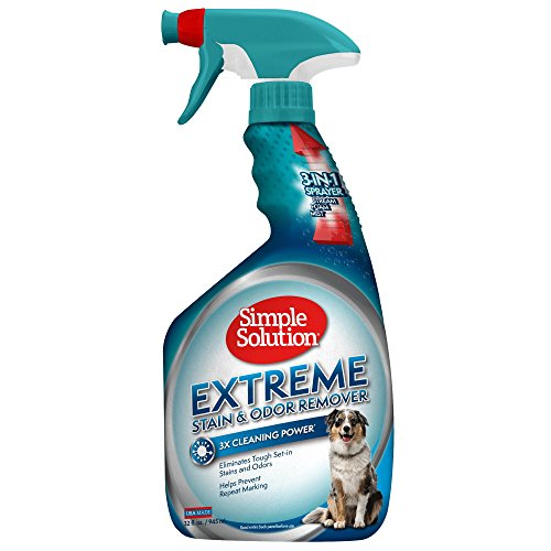 Simple Solution Extreme Stain and Odor Remover, 32-Ounce Spray Bottle (Best Dog Urine Stain And Odor Remover)