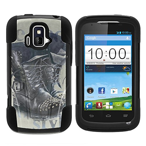 ZTE Sonata Case, Full Body Fusion STRIKE Impact Kickstand Case with Exclusive Illustrations for ZTE Sonata Z740G, ZTE Radiant Z740 (AIO Wireless, AT&T) from MINITURTLE | Includes Clear Screen Protector and Stylus Pen - Black Stylish Rain Boots