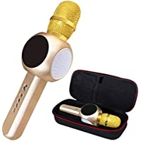 Wireless Microphone Karaoke, Mini Handheld Cellphone Karaoke Player, Portable Bluetooth Karaoke Player Speaker for Home KTV, 2600mAH Battery - Gold