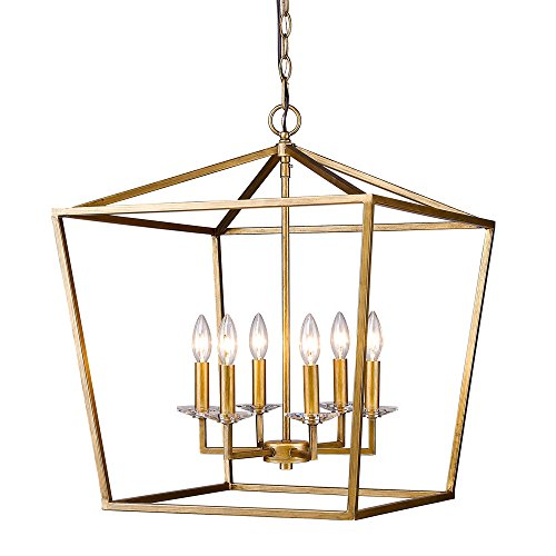 Acclaim Lighting IN11130AG Kennedy Indoor 6-Light Pendant with Crystal Bobeches, Antique Gold