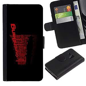 A-type (Enfriar arte de la palabra Negro Rojo Crunch explosión) Colorida Impresión Funda Cuero Monedero Caja Bolsa Cubierta Caja Piel Card Slots Para Samsung Galaxy S3 MINI 8190 (NOT S3)
