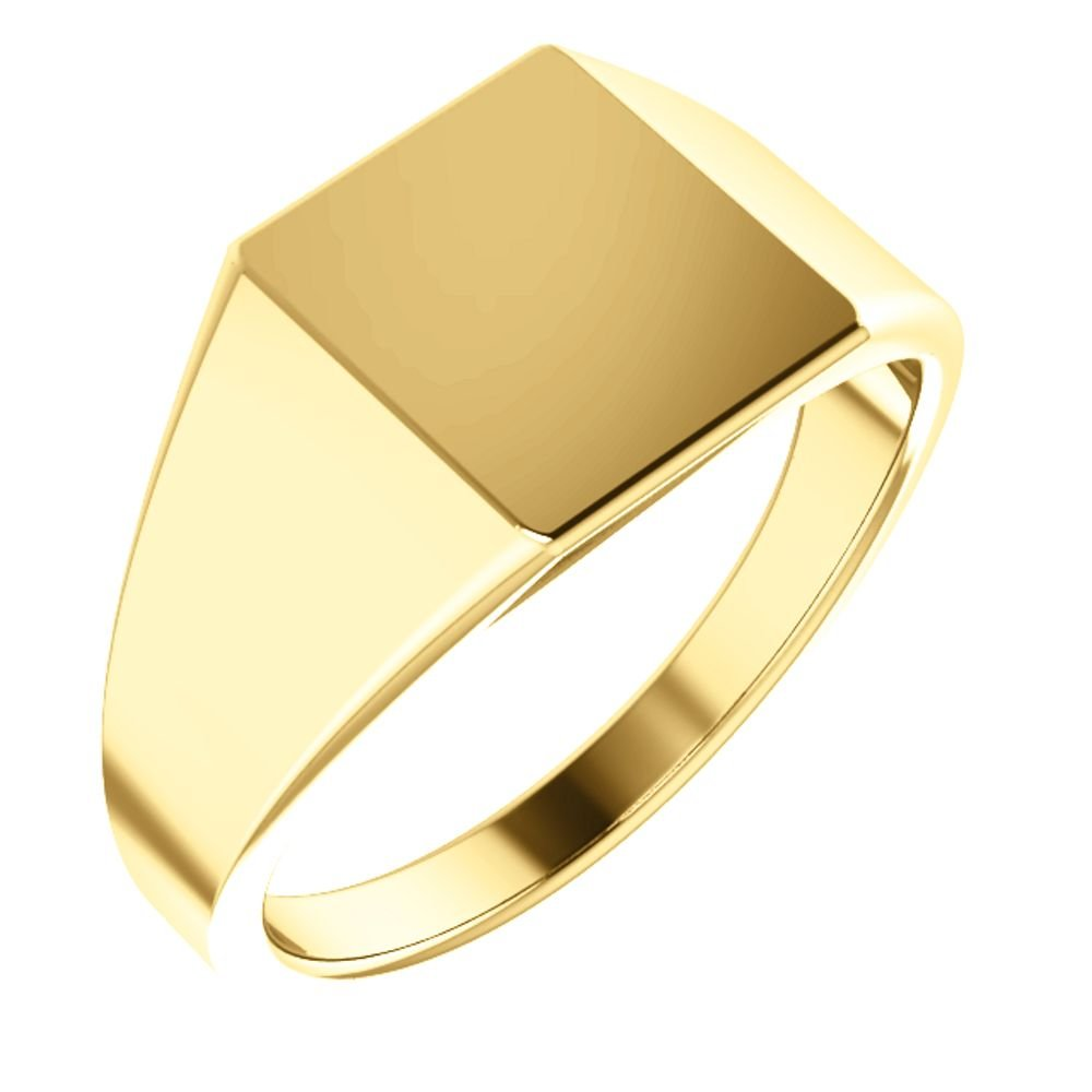 Men's Hollow Rectangle Signet Ring, 14k Yellow Gold (11X10MM) Size 12 by The Men's Jewelry Store