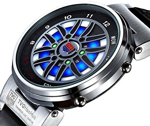 Tvg Led Watch Men Creative Car Roulette Blue Led Dispaly Binary Watch Men Fashion Men Sports Watches