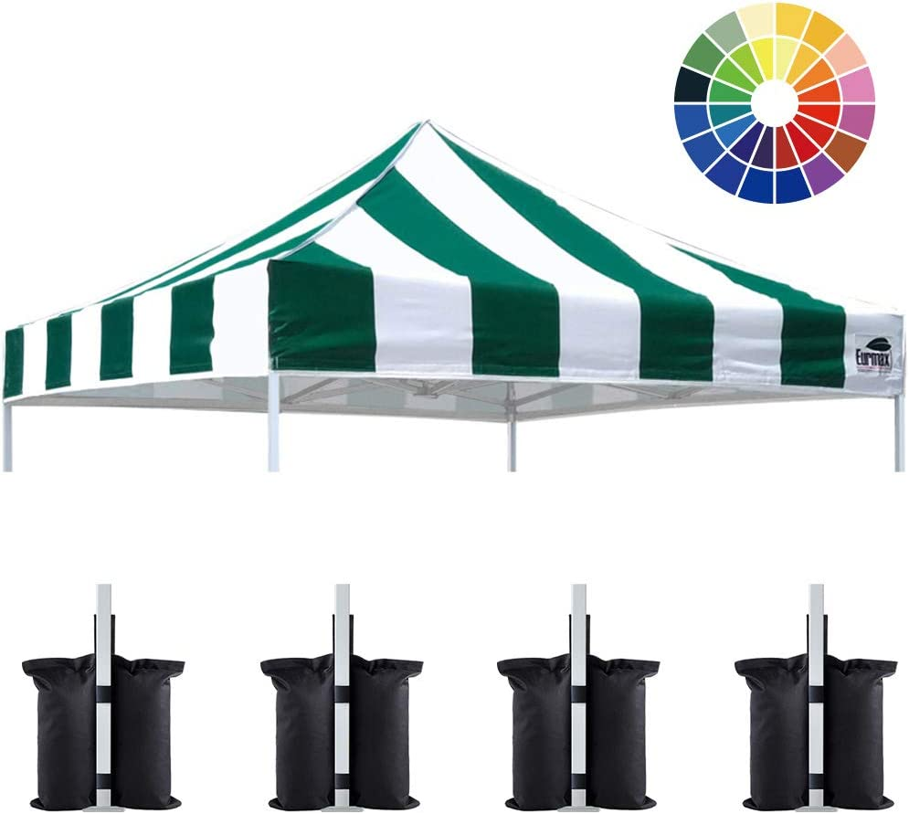 Eurmax New 10×10 Pop Up Canopy Replacement Canopy Tent Top Cover, Instant Ez Canopy Top Cover ONLY, Choose 30 Colors Stripe Green