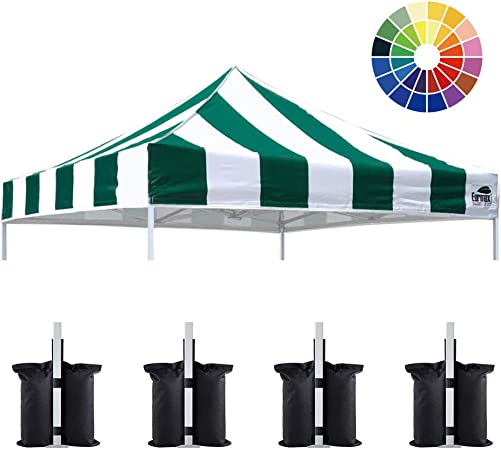 Eurmax New 10x10 Pop Up Canopy Replacement Canopy Tent Top Cover, Instant Ez Canopy Top Cover ONLY, Choose 30 Colors Stripe Green