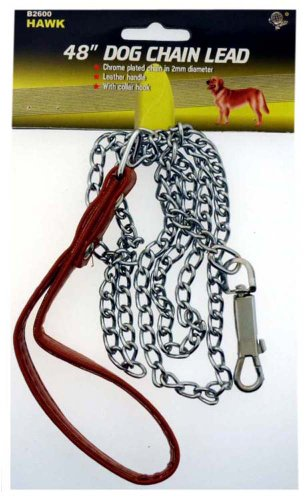 "DOG Leash RED Leatherette Handle Chrome-plated Chain Leads 48"", My Pet Supplies"