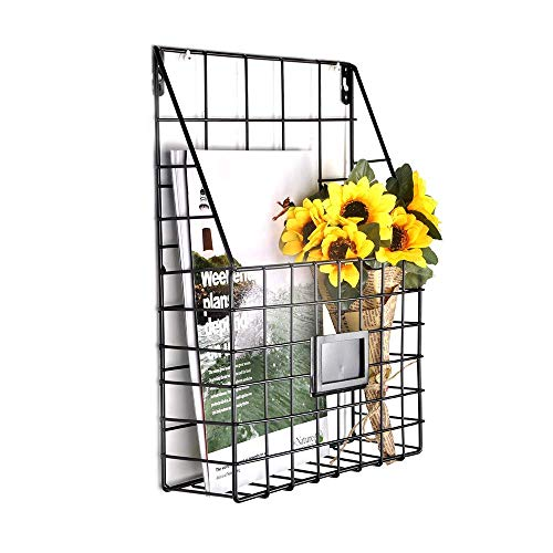 - AceList Wall Magazine Rack Vintage Wall Holder Hanging Metal Wire Mesh Newspapers File Book Fit Office Home Supplies Bathroom Dorm Decor