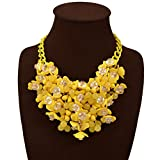 HoBST Yellow Flower Statement Necklace Women Fashion Choker Bubble Bib Collar Chain Pendant Necklaces