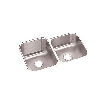 Elkay Undermount Stainless Steel 32 in. Double Bowl Kitchen Sink ...