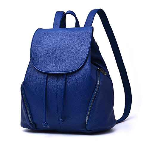 """CARQI Leather School Backpack Waterproof Casual Daypack, 13"""" X 4.7""""x 16.4"""" (Sky Blue)"""