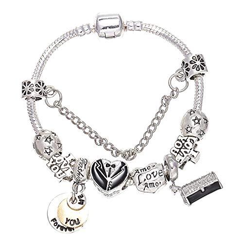 European Fashion Charm Bracelets for Women Kids Gift Crystal Heart Beads Brand Bracelets Pulseras Jewelry BBA230,16,19cm