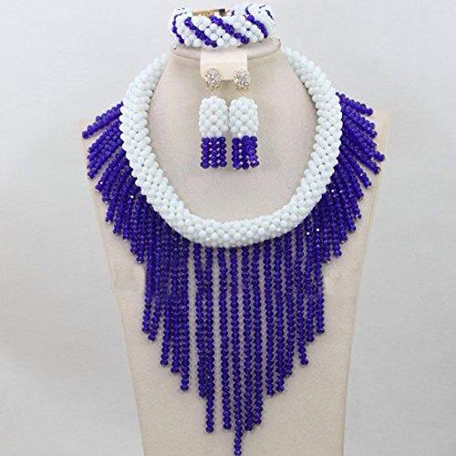 Collier ras du cou Bleu Goutte Perles africaine Nigeria mariage cristal Ensemble collier boucles d'oreille Bracelet