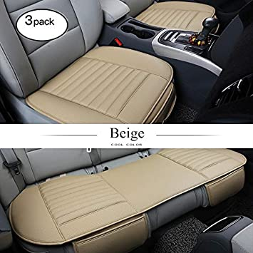 HONCENMAX Car Interior Seat Cushion Cover Pad Mat for Auto Car Supplies PU Leather Bamboo Charcoal Without Backrest 2+1 Front /& Rear Seat Covers