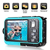 Underwater Camera 1080P Full HD Waterproof Digital Camera 24 MP Video Recorder Camcorder Selfie Dual Screen Shoot Waterproof Camera for Snorkelling (Blue)