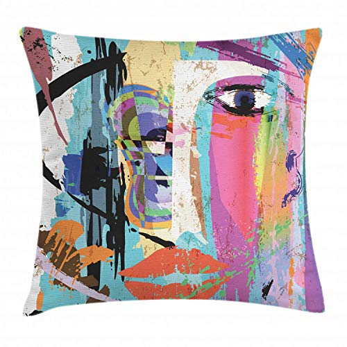 luckyly Abstract Throw Pillow Cushion Cover, Woman Face Art Composition with Paint Strokes and Splashes Eye Red Lips Grungy, Decorative Square Accent Pillow Case, 18 X 18 Inches, Multicolor ()