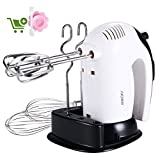 Hand Mixer,300W,SURPEER Electric Hand Whisk Professional,5 Speed Cake Mixer with Storage Base,2 Dough Hooks,2 Balloon Whisks,2 Beaters,Kitchen Food Mixers Hand Held for Baking,White/Black