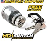 EZGO 33639G01 Golf Cart key Switch (With LIGHTS), Gas & Electric, 1981 & Up - With 2 Upgraded Keys & Free Carabiner - HD Switch