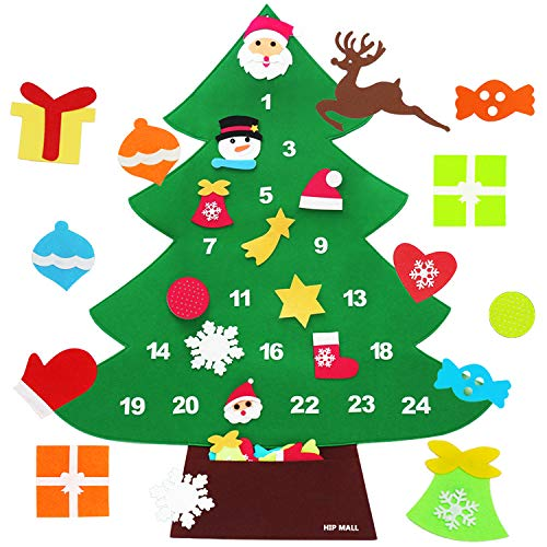 Hip Mall 3.1ft Felt Christmas Tree with Numbers and DIY Ornaments for Kids Gift Green
