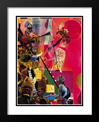 Romare Bearden Framed and Double Matted Art Print 23x20