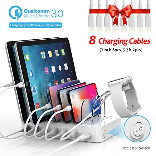 Soopii Quick Charge 60W/12A 6-Port USB Charging Station for Multiple Devices, 8 Charging Cables Included, Compatible with Apple iPhone iPad iWatch iPod, for Phones, Tablets,and Other Electronics