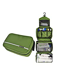 Foldable Toiletry Pouch Bag with Hanging Hook for Women Men, and Kids, Personal Travel Cosmetic Organizer Bag for Camping(Army Green)