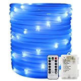 ER CHEN Remote&Timer Battery Powered Rope Lights,33FT 100 LED Warterproof Indoor&Outdoor Portable Rope String Lights for Christmas Tree, Wedding, Thanksgiving, Party, Garden, Patio(Blue)