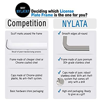 NYLATA Stainless Steel License Plate Frames, Sleek Car Accessories, Gorgeous Covers for License Plates, Chrome Finish Plate Holder with Bracket, Anti-Theft Screw Caps, Bling for Your Car: Automotive