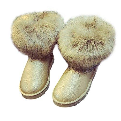Hzjundasi Mujer Amarillo Botas Fluffy Cálido Invierno Señoras Casual Sintética Cómodo Piel Tobillo Zapato Plano Nieve rB4rn5q