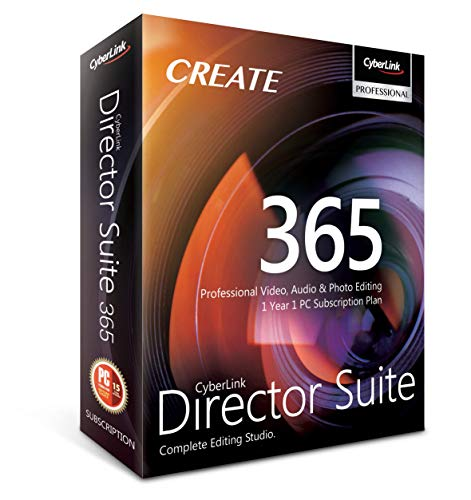Cyberlink Director Suite 365 | 1 Year | 1 PC Subscription - Professional Video, Audio & Photo Editing (Windows Video Editing Software)