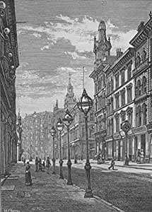 SAN FRANCISCO. Montgomery Street—The Palace Hotel in the Distance - 1882 - old print - antique print - vintage print - California art prints