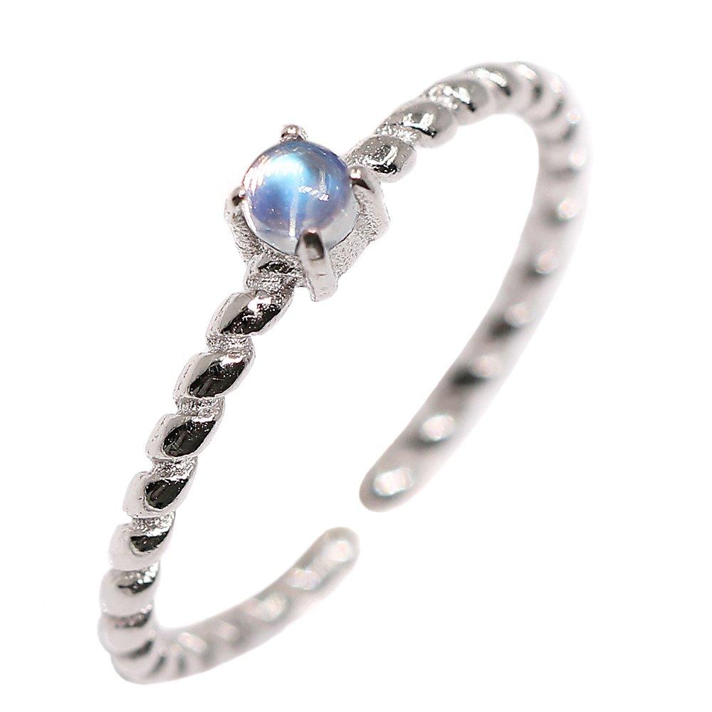 Luna Azure Natural Moonstone Sterling Silver 925 Adjustable Fine Ring
