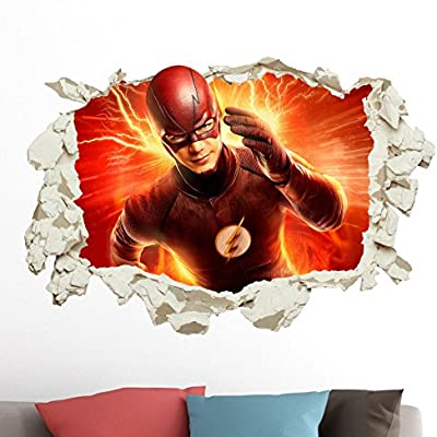 Greatdealsandgifts The Flash In Wall Crack Kids Boy Bedroom Decal Art Sticker Xmas Gift Superheroes Xxl Amazon Co Uk Kitchen Home