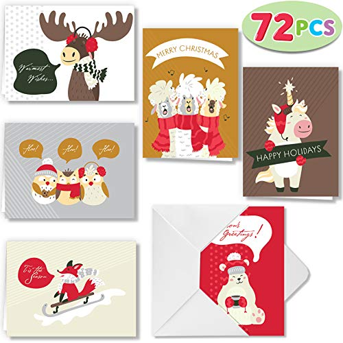 72 Piece Cute Animal Wintertime Greeting Cards Collection with 6 Unique Festive Designs & Envelopes for Winter Christmas Season, Holiday Gift Giving, Xmas Gifts Cards. (Christmas Cards Festive)