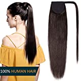 Ponytail Extension Human Hair 100% Real Remy Hair - Wrap Around Ponytail Clip in Hair Extensions Long Straight 16 Inches - #2 Dark Brown